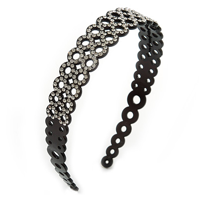 Black Acrylic Alice/ Hair Band/ HeadBand With Clear Crystal Circle Motif