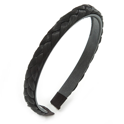 Black Fake Silk Hair Plait Flex Hairband