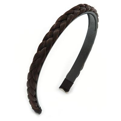 Dark Brown Fake Silk Hair Plait Flex Hairband