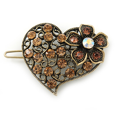 Vintage Inspired Light Topaz Coloured and AB Crystal 'Heart' Hair Slide In Antique Gold Metal - 35mm Across