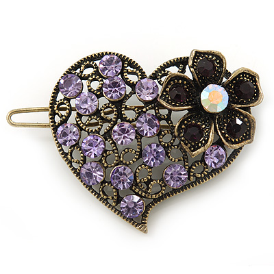 Vintage Inspired Lavender, Deep Purple and AB Crystal 'Heart' Hair Slide In Antique Gold Metal - 35mm Across
