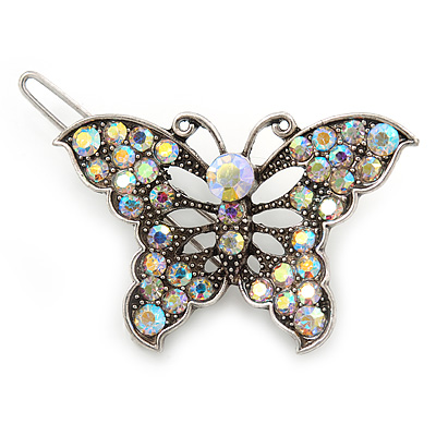 Vintage Inspired AB Crystal 'Butterfly' Hair Slide In Antique Silver Metal - 45mm Across - main view