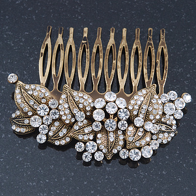 Vintage Inspired Bridal/ Wedding/ Prom/ Party Austrian Clear Crystal 'Leaves & Flowers' Hair Comb In Antique Gold Metal - 80mm - main view