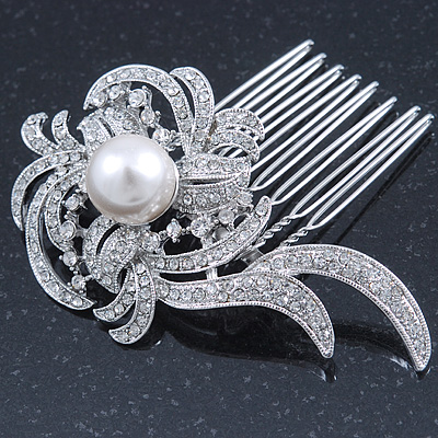 Bridal/ Wedding/ Prom/ Party Rhodium Plated Clear Swarovski Crystal, Glass Pearl Asymmetrical Leaf Hair Comb - 75mm