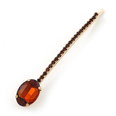 1Pcs Long Topaz Coloured Oval Glass Stone Hair Grip/ Slide In Gold Plating - 85mm Across