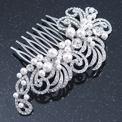 Bridal/ Wedding/ Prom/ Party Rhodium Plated Clear Crystal, Simulated Pearl 'Feather' Hair Comb - 100mm - main view