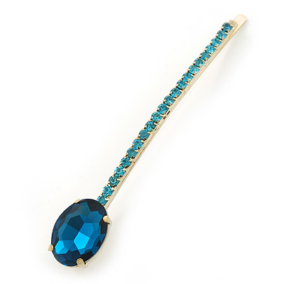1Pcs Long Teal Blue Oval Glass Stone Hair Grip/ Slide In Gold Plating - 85mm Across