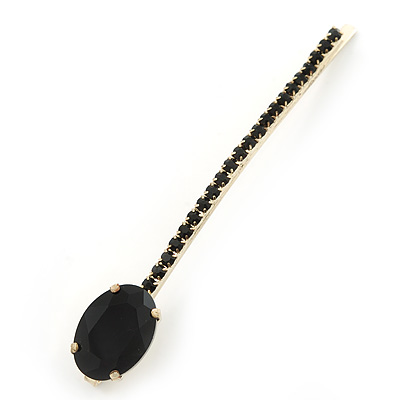 1Pcs Long Black Oval Glass Stone Hair Grip/ Slide In Gold Plating - 85mm Across