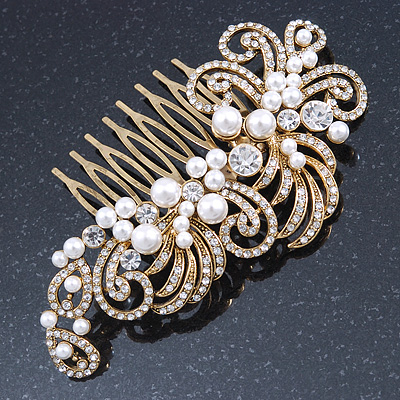 Vintage Inspired Bridal/ Wedding/ Prom/ Party Gold Tone Clear Crystal, Simulated Pearl 'Feather' Side Hair Comb - 100mm - main view