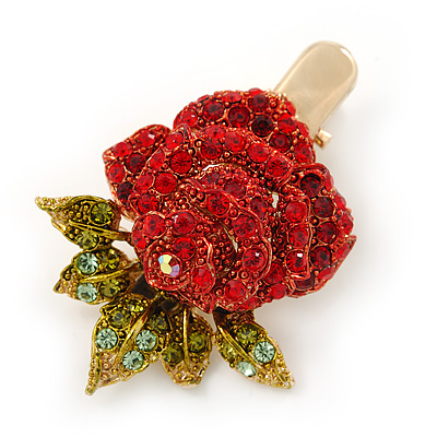 Red/ Green Austrian Crystal Rose Hair Beak Clip/ Concord Clip In Gold Plating - 45mm L - main view