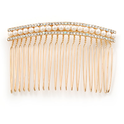 Bridal/ Wedding/ Prom/ Party Gold Plated AB Crystal, Light Cream Faux Pearl Hair Comb - 80mm