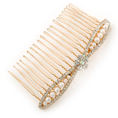 Bridal/ Wedding/ Prom/ Party Gold Plated Clear Crystal, Light Cream Faux Pearl Bow Hair Comb - 80mm - main view