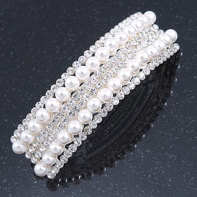 Bridal/ Wedding/ Prom Silver Tone Simulated Pearl Diamante Barrette Hair Clip Grip - 85mm Across