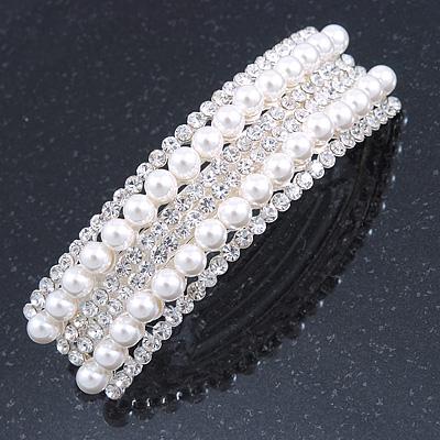Bridal/ Wedding/ Prom Silver Tone Simulated Pearl Diamante Barrette Hair Clip Grip - 85mm Across - main view