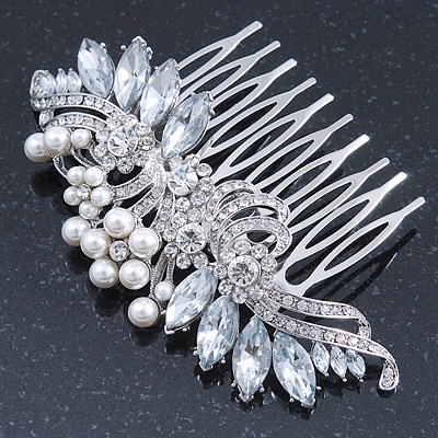 Bridal/ Wedding/ Prom/ Party Rhodium Plated CZ, Faux Pearl Floral Side Hair Comb - 100mm