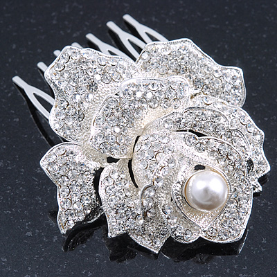 Bridal/ Wedding/ Prom/ Party Silver Tone Clear Austrian Crystal Rose Side Hair Comb - 60mm - main view
