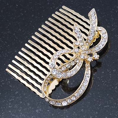 Bridal/ Wedding/ Prom/ Party Gold Plated Clear Austrian Crystal Bow Side Hair Comb - 65mm