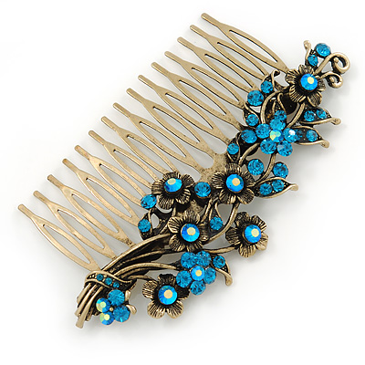 Vintage Inspired Teal/ AB Swarovski Crystal 'Flowers' Side Hair Comb In Antique Gold Tone - 105mm - main view