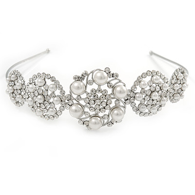 Bridal/ Wedding/ Prom Rhodium Plated Clear Austrian Crystal, White Simulated Pearl 5 Circle Starlet Tiara/ Headband