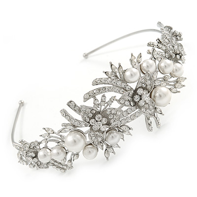 Statement Bridal/ Wedding/ Prom Rhodium Plated Clear Crystal, White Glass Flowers & Leaves Tiara Headband