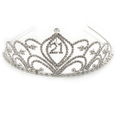 Bridal/ Wedding/ Prom Rhodium Plated Clear Crystal '21' Princess Classic Tiara
