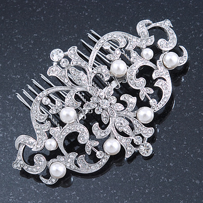 Bridal/ Wedding/ Prom/ Party Art Deco Style Rhodium Plated White Simulated Pearl and Austrian Crystal Hair Comb - 95mm W