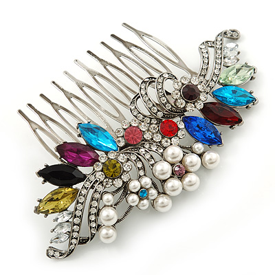 Bridal/ Wedding/ Prom/ Party Rhodium Plated Multicoloured Austrian Crystal, Faux Pearl Floral Hair Comb - 10cm W - main view