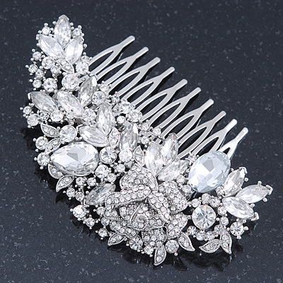Bridal/ Wedding/ Prom/ Party Rhodium Plated Clear Crystal Rose Flower Hair Comb - 85mm