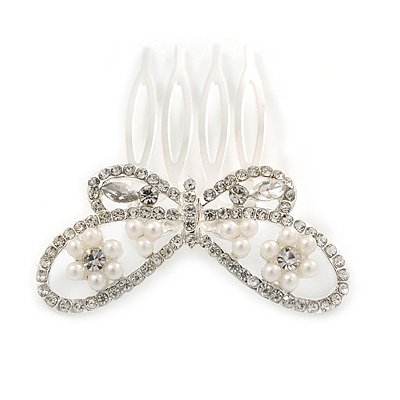 Small Bridal/ Wedding/ Prom/ Party Rhodium Plated Clear Crystal, Pearl Butterfly Hair Comb - 45mm