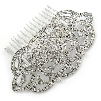 Bridal/ Wedding/ Prom/ Party Art Deco Style Rhodium Plated Austrian Crystal Hair Comb - 95mm W