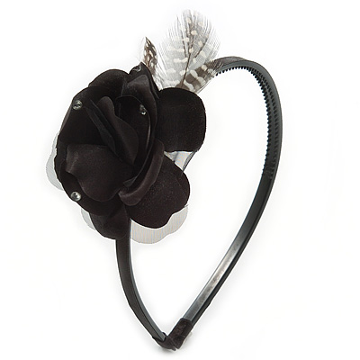 Thin Black With Side Silk & Feather Rose Flower Alice/ Hair Band/ HeadBand - main view