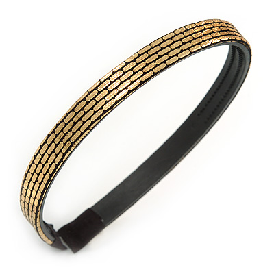 Gold/ Black Glitter Fabric Flex HeadBand