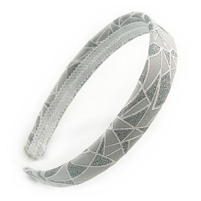 Light Grey/ Glitter Geometric Pattern Fabric Flex HeadBand