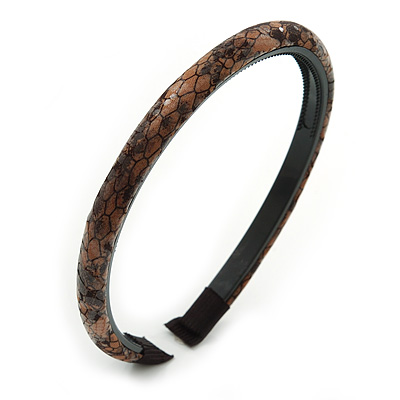 Snake Print Fabric Alice/ Hair Band/ HeadBand (Light Brown/ Black)