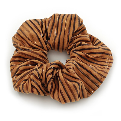 Light Brown With Chocolate Stripes Hair Scrunchie