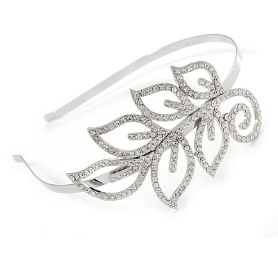 Bridal/ Wedding/ Prom Rhodium Plated Clear Crystal Leaf Tiara Headband