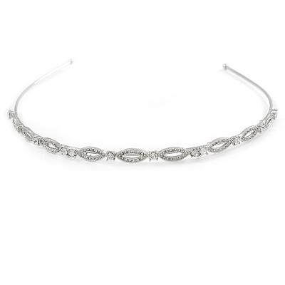 Bridal/ Wedding/ Prom Rhodium Plated Clear Crystal Tiara Headband