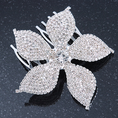 Bridal/ Prom/ Wedding/ Party Rhodium Plated Clear Austrian Crystal Daisy Flower Side Hair Comb - 7cm Width