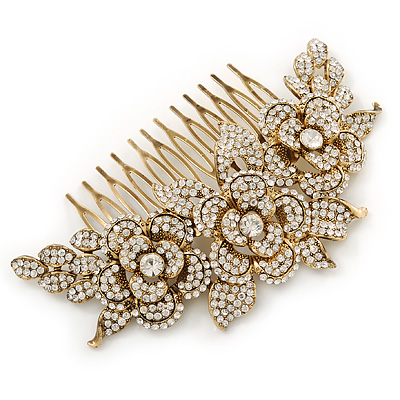 Oversized Bridal/ Wedding/ Prom/ Party Gold Plated Clear Crystal Triple Rose Floral Hair Comb - 110mm