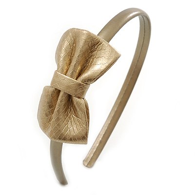 Thin Gold Metallic Faux Leather With Side Textured Bow Alice/ Hair Band/ HeadBand