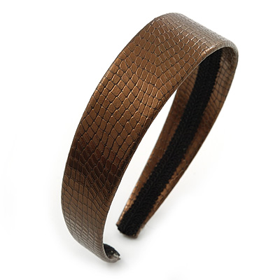 Wide Bronze Metallic Snake Print Leather Style Alice/ Hair Band/ HeadBand