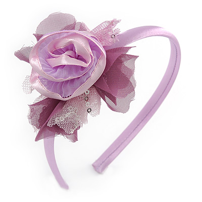 Thin Pink Silk Rose Flower Alice/ Hair Band/ HeadBand - main view