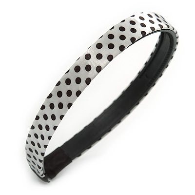 White/ Black Silk Polka Dot Alice/ Hair Band/ HeadBand
