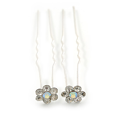 Bridal/ Wedding/ Prom/ Party Set Of 2 Clear & AB Crystal Daisy Flower Hair Pins In Silver Tone - main view