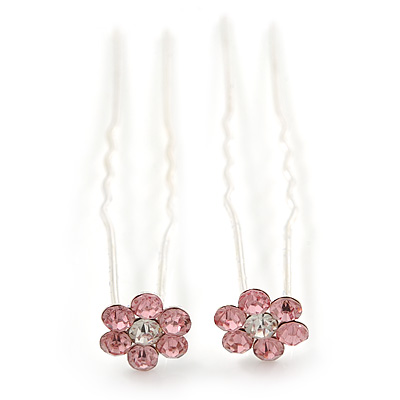 Bridal/ Wedding/ Prom/ Party Set Of 2 Pink Crystal Daisy Flower Hair Pins In Silver Tone