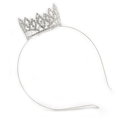 Statement Full Round Clear Crystal Queen Crown Rhinestone Bridal Tiara Headband Pageant Prom Wedding Hair Jewellery