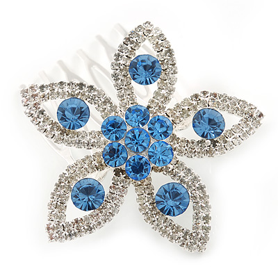Bridal/ Prom/ Wedding/ Party Rhodium Plated Clear/ Light Blue Austrian Crystal Flower Side Hair Comb - 55mm W