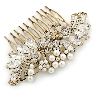 Oversized Bridal/ Wedding/ Prom/ Party Antique Gold Crystal, Pearl Floral Hair Comb - 100mm - main view