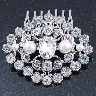 Bridal/ Wedding/ Prom/ Party Art Deco Style Rhodium Plated White Simulated Pearl and Austrian Crystal Hair Comb - 70mm W