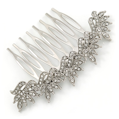 Bridal/ Prom/ Wedding/ Party Rhodium Plated Clear Austrian Crystal Floral Side Hair Comb - 8cm W - main view